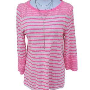 Ladies J. Crew Hot Pink Striped Long Sleeve Tee